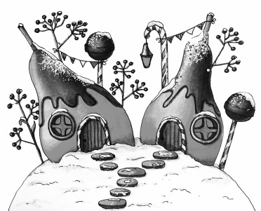 Winter Pears Houses - Markers Illustration